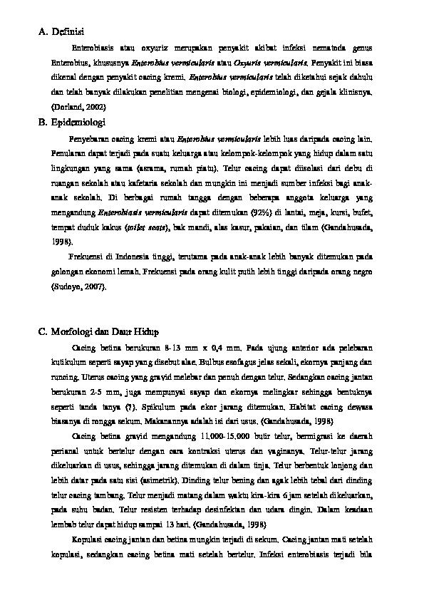 Gyógyszer az enterobiasis felnőtteknél, Enterobiasis (pinworms)